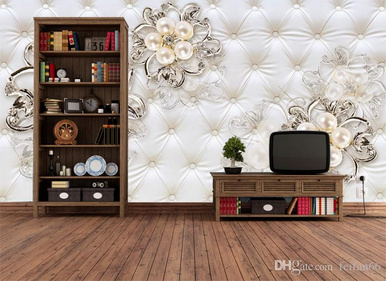 Large 3d European Pearl and Rose Jewelry TV Background Wallpaper Living Room Wallpaper Full Seamless Mural