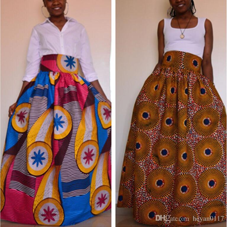 60 Womens African Print Dashiki Skirts Long Maxi A Line High Waist Unique African Skirts Patterns