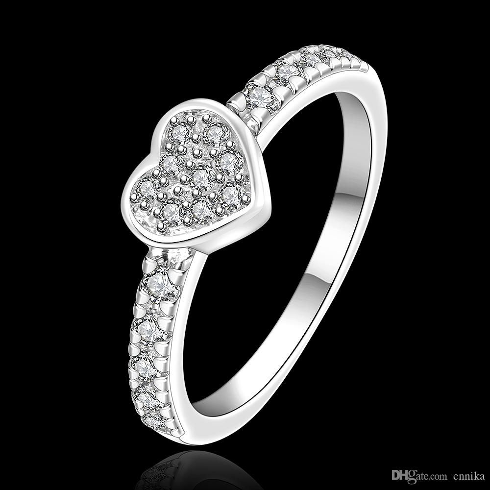 Wholesale 925 Silver Ring Pretty Heart With Zircon Finger Rings For Women New Fashion Jewelry r161
