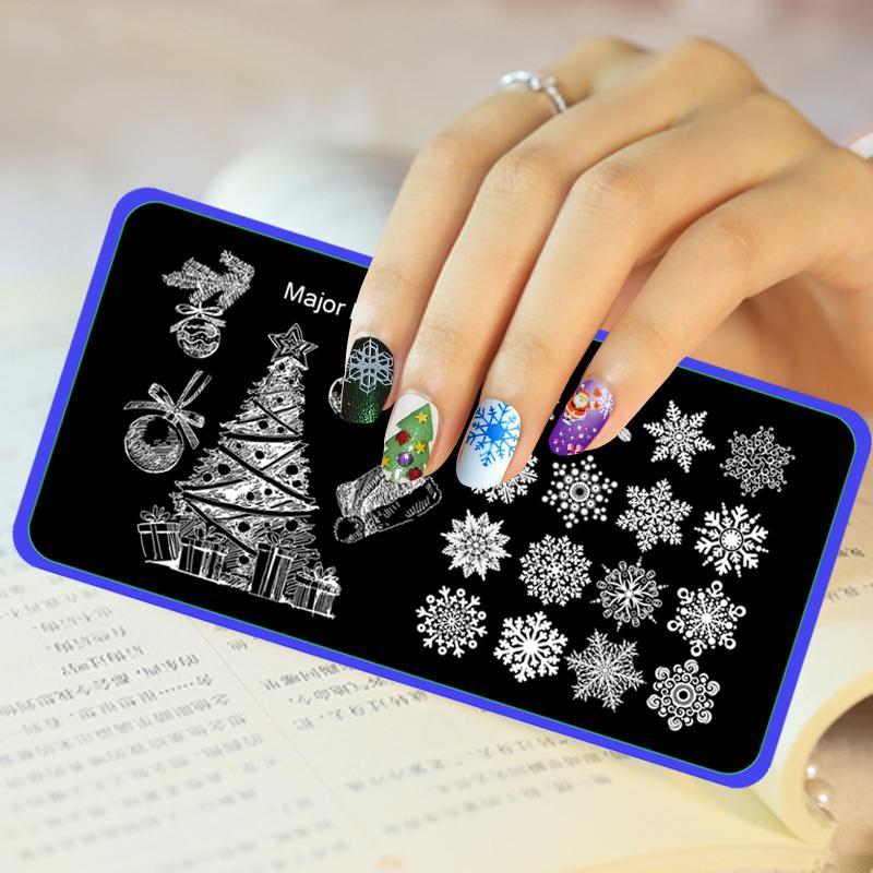 Wholesale Christmas Image Stamp Template Xmas Tree Snowflake Nail