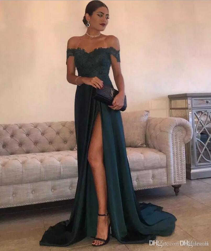 Fuera del hombro Apliques oscuro verde largo de la gasa vestidos de baile de lado alto de Split formal elegante del partido de la celebridad desfile de vestido de los vestidos de noche