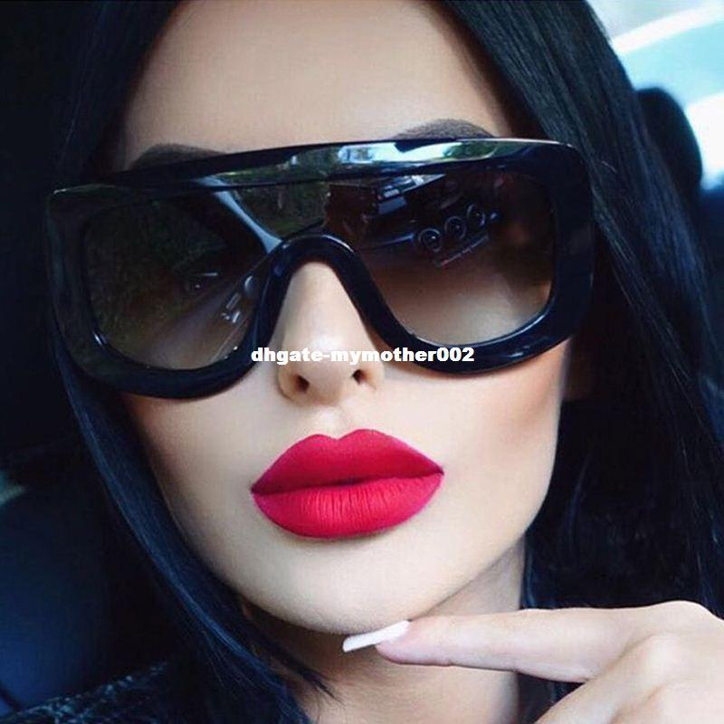 ac6756f827 Compre WINLA El Más Nuevo Único De Las Mujeres Gafas De Sol Gafas Cuadradas  De La Vendimia Marco Grande Gafas De Sol Acetato Shades Gradient Eyeglasses  ...