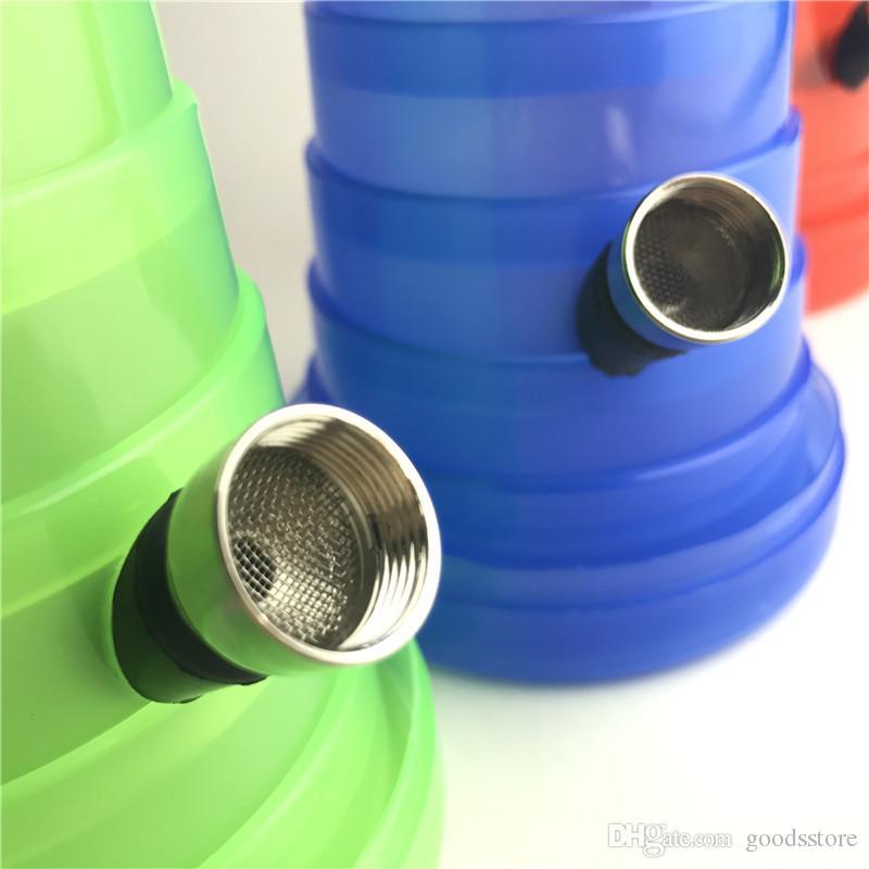 Mini Bong di rintracciamento pieghevole Bong Tubi di plastica da 1,3 a 8 pollici Bong Green Red Blue Oil 3 pezzi Smontare tubo di metallo