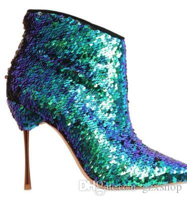 New Arrival Fashions Green Sequin Cloth Boots Pointed Toe Women Booties Thin Heel Zipper Women Boots Mature Glitter Woman Shoes