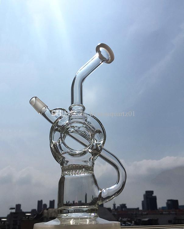 Maschio 14mm Piattaforme petrolifere Vapore Vetro bong tabacco pipe pipe l'acqua Vetro riciclatore Percolatore chiodo al quarzo Dab enails