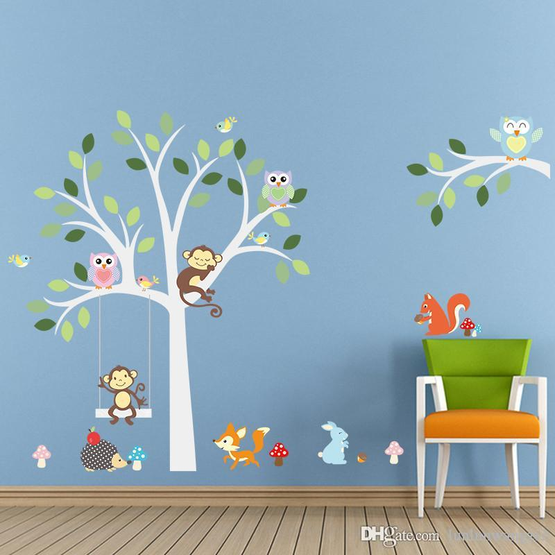 2019 wise fox squirrel monkey owls on white tree wall stickers for