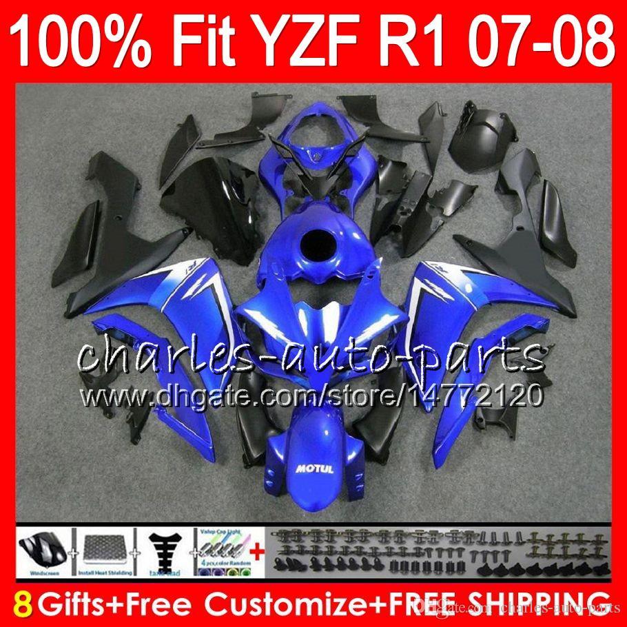8Gifts Injection Pour YAMAHA YZF1000 YZFR1 07 08 YZF 1000 37HM11 YZF-R1 07-08 YZF-1000 YZF R 1 bleu noir YZF R1 2007 2008 Carénage