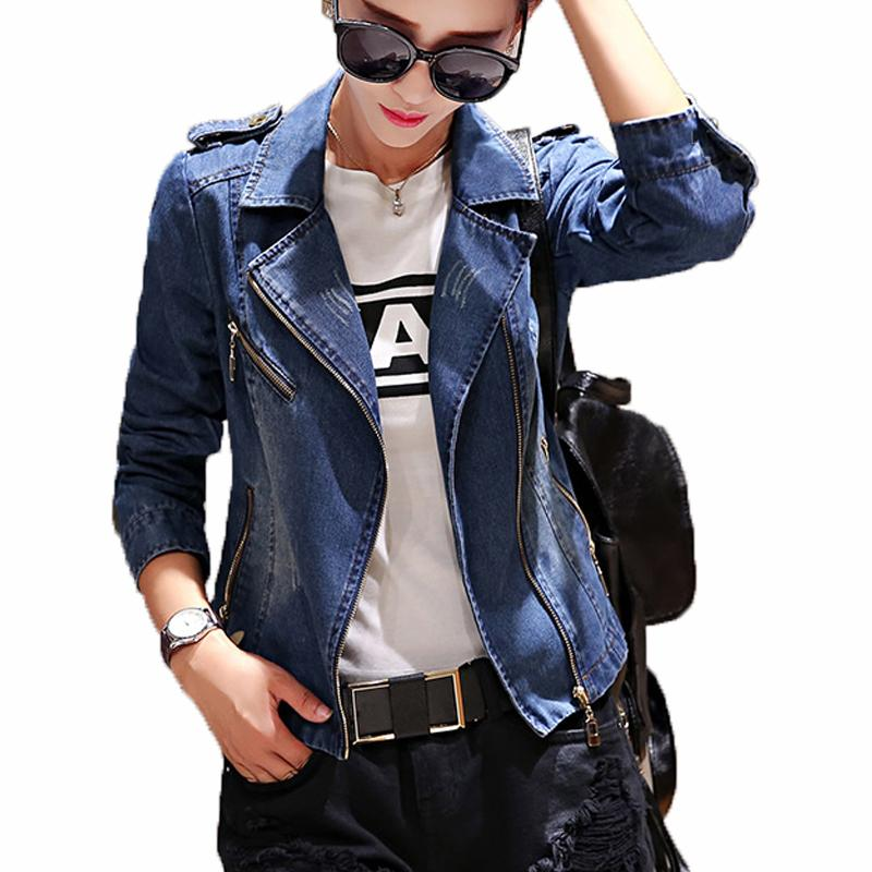 592ac1d4b88dd Wholesale Women Denim Jacket 2017 Fashion Spring Autumn Vintage Jean Jacket  Women Zipper Plus Size Blue Denim Coat Outwear Female Clothing Designer  Leather ...