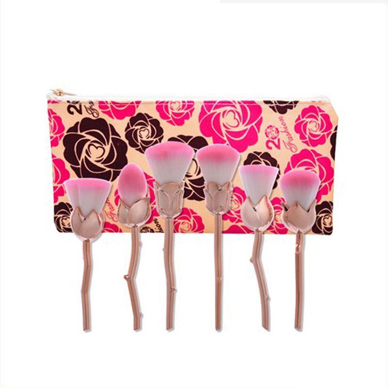 6 unids / set Pincel de maquillaje Base de maquillaje profesional Blush Powder Soft Cute Rose Gold Pink Pinceles de maquillaje con bolsa