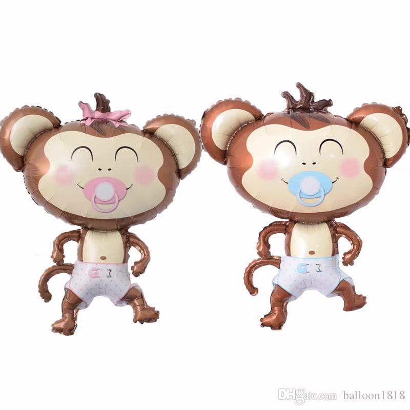 50 adet / grup Meme Maymun Folyo Balonlar Şişme Oyuncaklar Globos Doğum Günü Partisi Süslemeleri Çocuklar Helyum Balon Bebek Duş Parti Malzemeleri