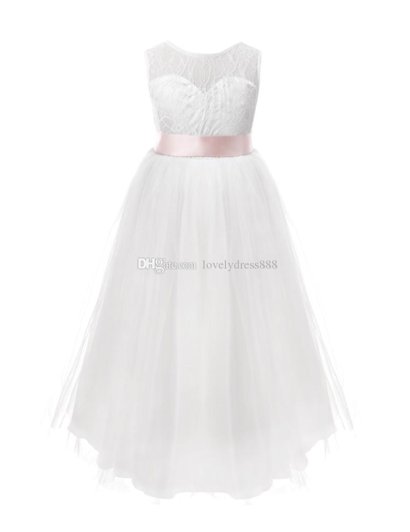White Flower Girls Dresses For Wedding Gowns Cap Sleeve Lace Sash