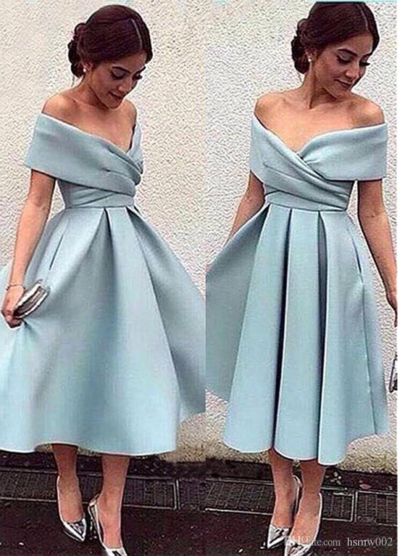Yeni Varış Açık Mavi Kokteyl Elbise Kapalı Omuz Çay Boyu Kısa Parti Gelinlik Modelleri Yüksek Kalite Mezuniyet Elbiseleri Resmi Elbise