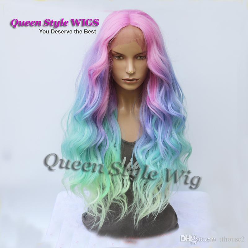 Sirène Pastel Rainbow Perruque De Cheveux Synthétique Couleur Rose Pourpre / Bleu / Fluorescent Vert Ombre Cheveux Dentelle Front Perruque Sirène Cosplay Perruques
