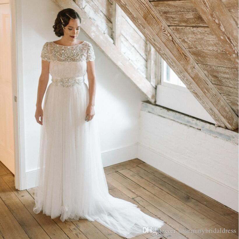 Discount Vintage Inspired Wedding Dresses A Line Beaded And Tulle ...