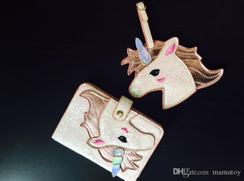 New Super Shinning Unicorn Passport Protective Case Luggage Tag SETS beautiful passport case for girls Ladies