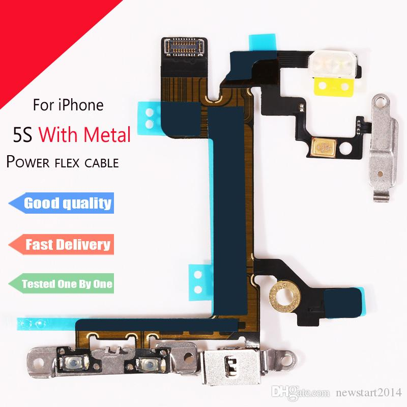 Top Quality New Power Button On Off Flex Cable For iPhone 5 5G 5C 5S Mute Volume Switch Connector Ribbon Parts