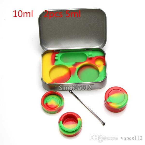 Venda quente 4 em 1 Estanho Kit De Armazenamento De Silicone Set com 5 ml Recipiente de Cera De Silício Óleo Jar Base de Prata Dab Dabber Ferramenta de Metal caso