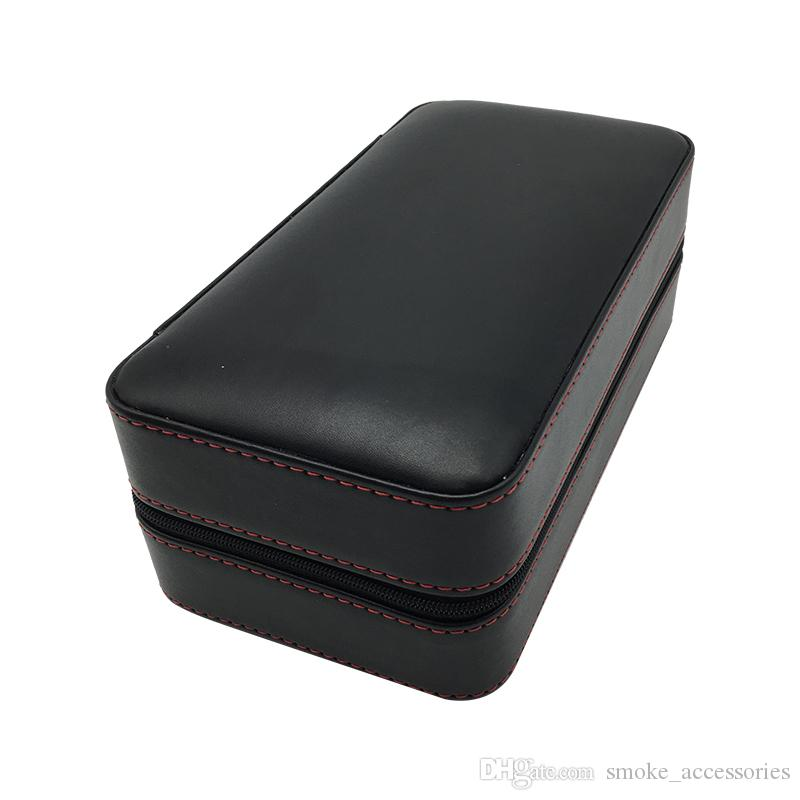 202*107*86MM Cigar Humidor Cigarette Box make in Black grain leather Cigar humidors which can hold 6 Cigarettes
