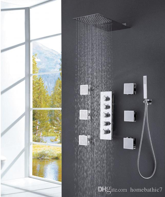 Soild Brass Thermostatic Valve Rain&Cascade Bath Stainless steel Shower Head Faucet Mixer Set W/Hand Sprayer