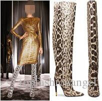 hot fashion western style python pattern leather knee boots women snakeskin pointed toe high heel shoes women pumps plus size 42