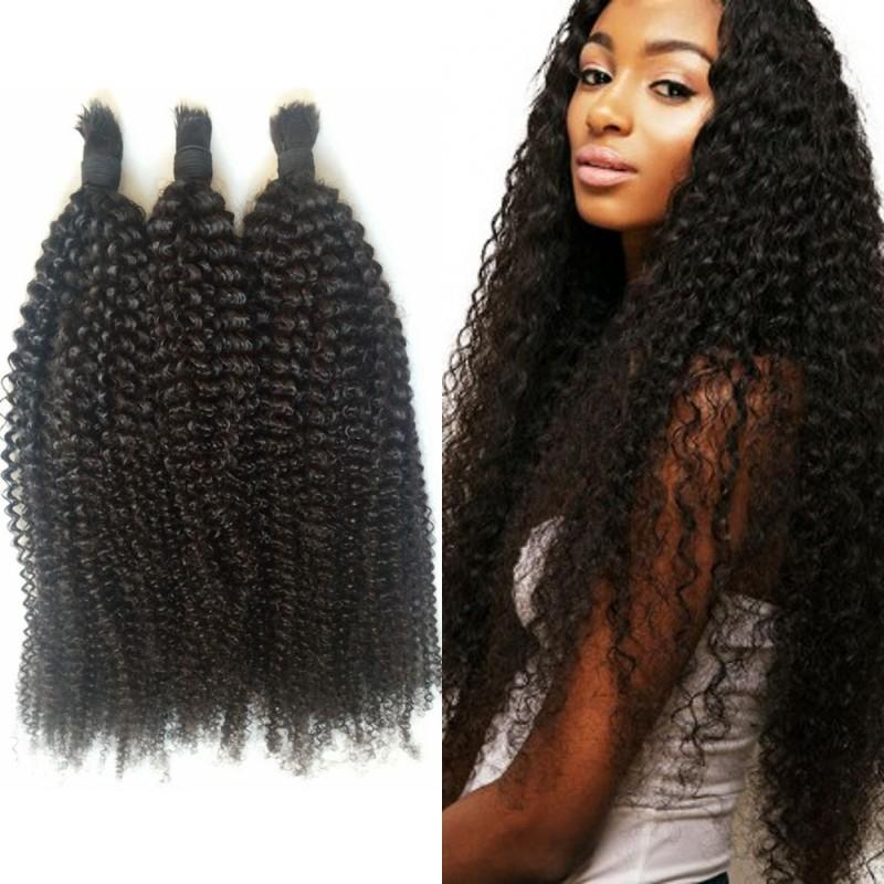 100 Human Hair Bulk For Braiding 3 Bundles Indian Kinky Curly No