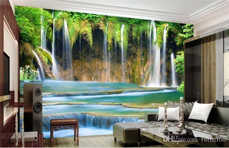 Green Tv Background Wallpaper 3d 3d Landscape Waterfall Landscape Sofa  Mural Modern Living Room Video Wallpaper Free Desktop Wallpaper Downloads  Free ...