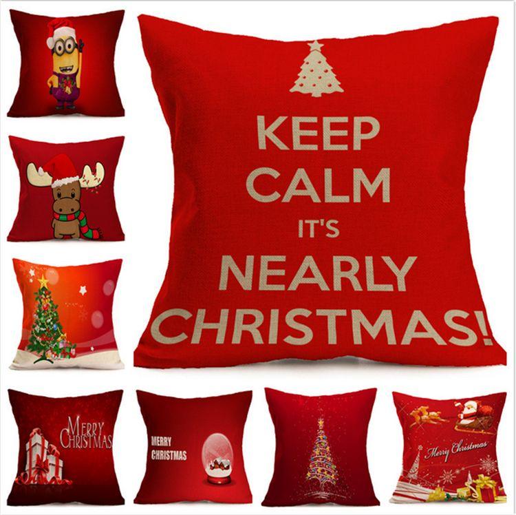 Fodera cuscino Merry Christmas Fodera cuscino Festiva Pattern Fiocco di neve Renna Elk Tree Hat Fodere cuscino Lino decorativo Federa rossa calda