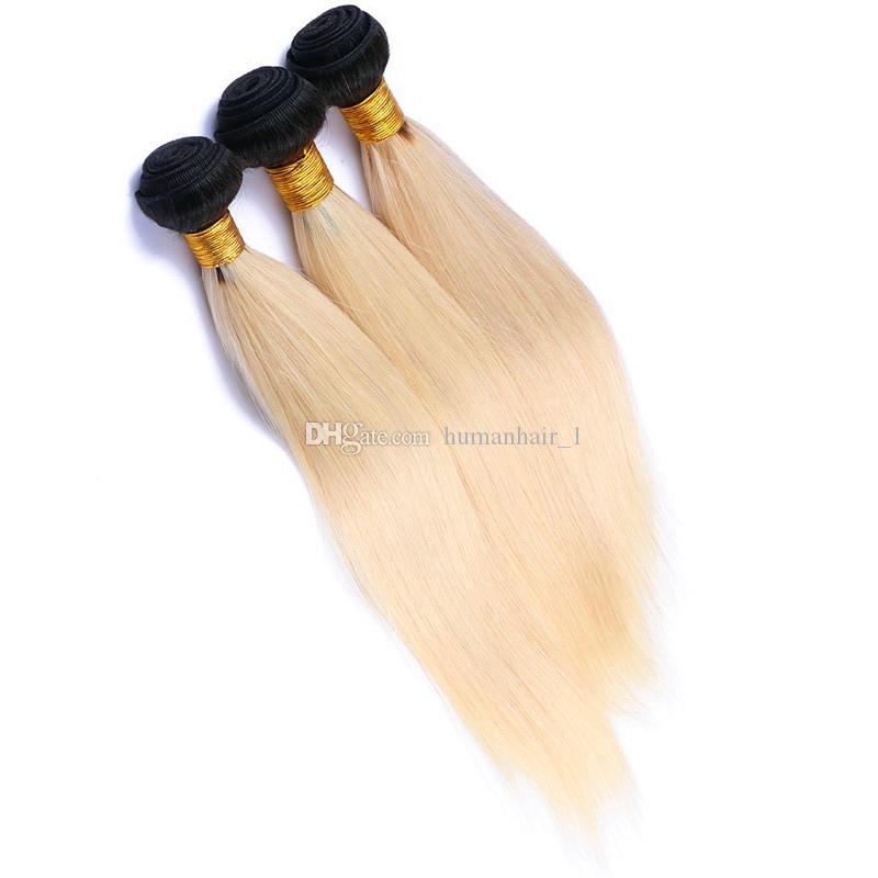 8A Cheap Ombre Malaysian Hair Weaves #1B 613 Blonde Dark Roots Ombre Body Wave Human Hair Extensions Two Tone Platinum Blonde Virgin Hair