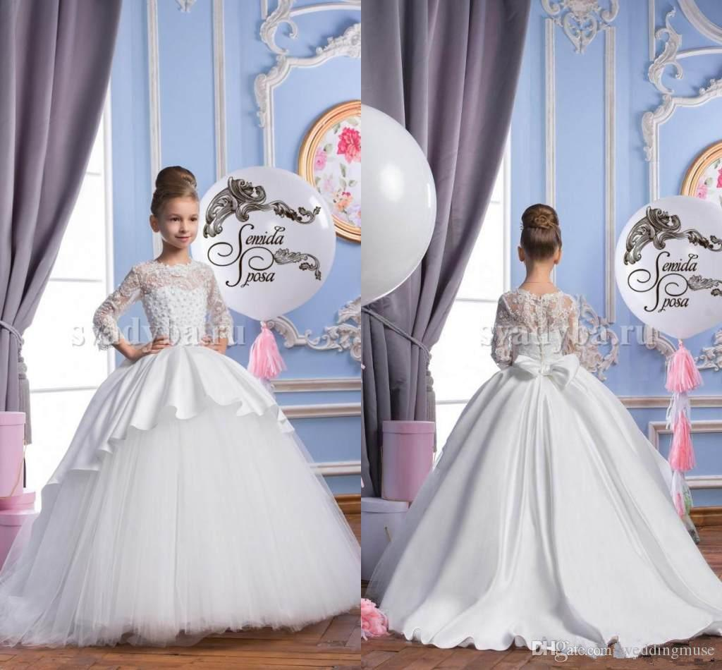 2018 Spring Flower Girl Dresses Sheer Appliqued Jewel 34 Sleeves