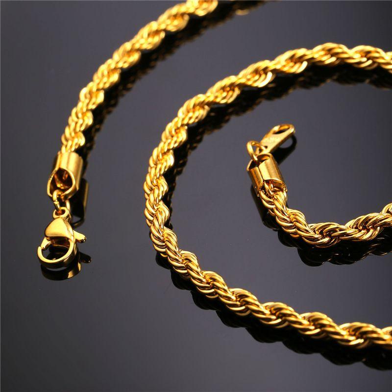 Catene Fune 18K placcato oro Collana in acciaio inox catene uomo in oro gioielli regalo moda