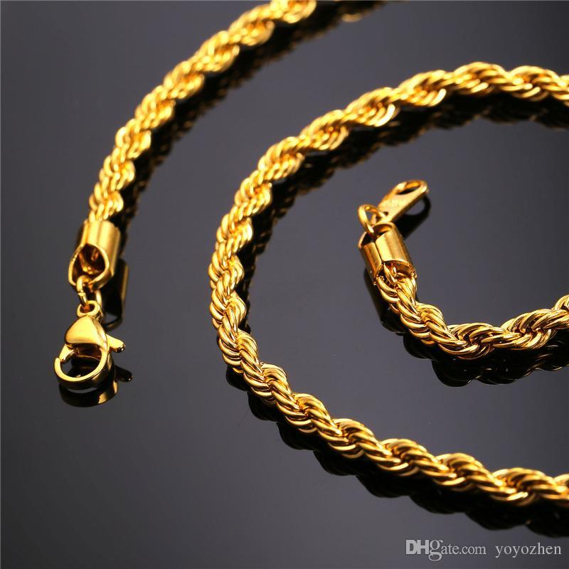 Corda 18k cadeia real Ouro de aço inoxidável Colares para Chains homens do ouro jóias de Moda
