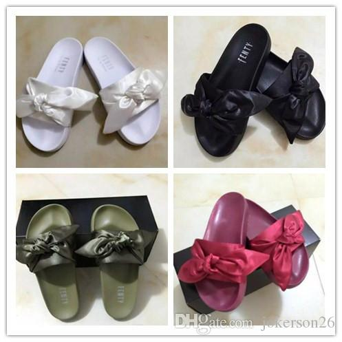 22a97530ca89 Supply Original Fenty Bowtie Rihanna Slippers Leadcat Bowtie Slippers Shoes  Slides Women Sandals Dark Green Slippers Booties Mens Boots From  Jokerson26