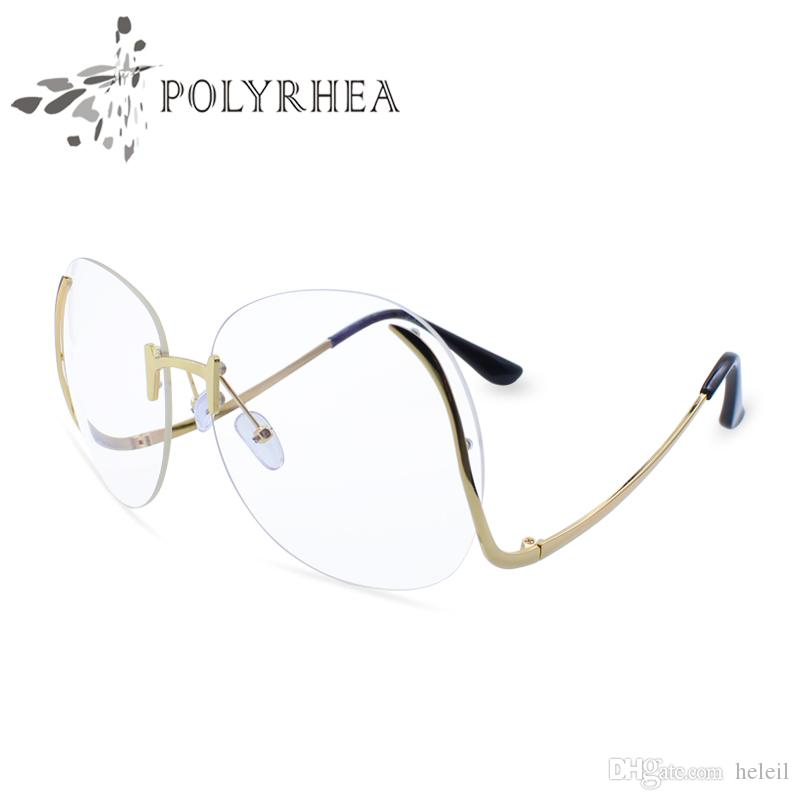 dda4f22082 2019 Luxury Optical Gradient Eyeglasses Women Fashion Optics Big Metal  Frame Elegant Female Round Glasses Bend Frame Glasses With Box And Case  From Heleil