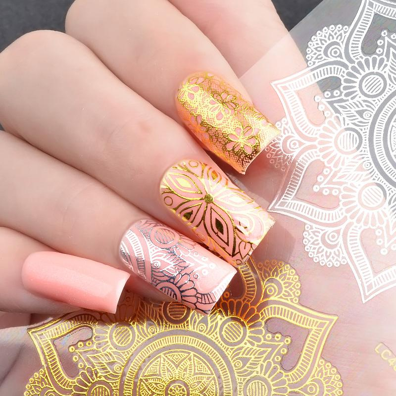 New Nail Art Stickers 3d Metal Hollow Lace Flower Stickers Goose ...
