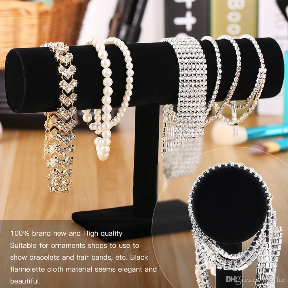 YKS010 Black Velvet Expositores Fashion Jewelry Display Stand Holder for Bracelets Bangle Watch Chains Hanging T bar Rack