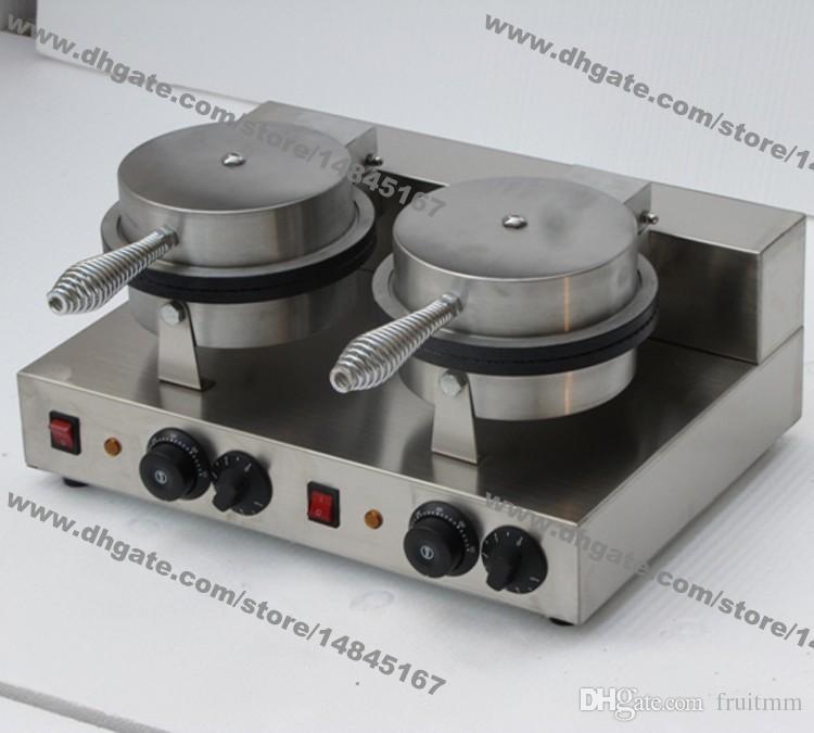 Uso commerciale libero di trasporto 110v 220v elettrico doppio cono gelato Waffle Maker Iron Baker Machine