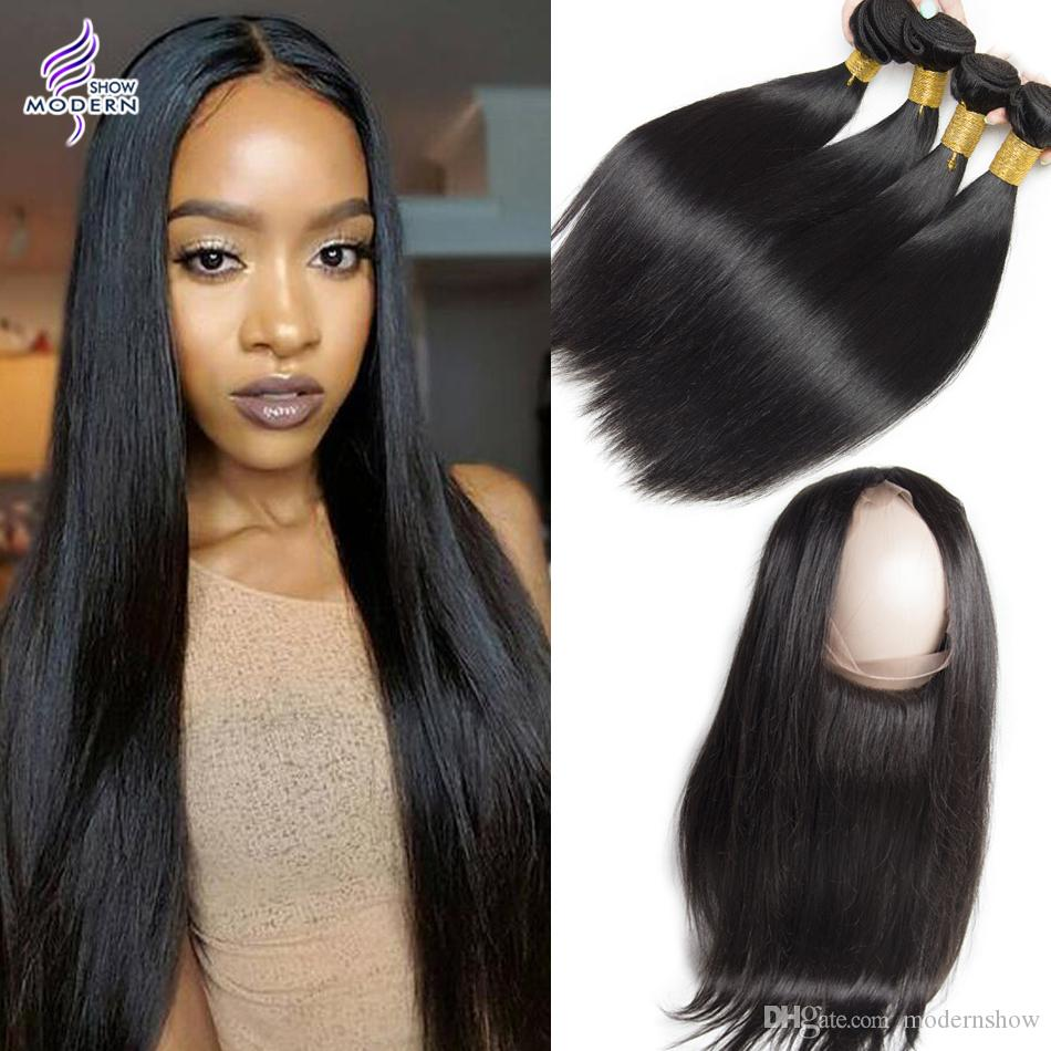 Fashion week Straight Peruvian hair with closure for woman