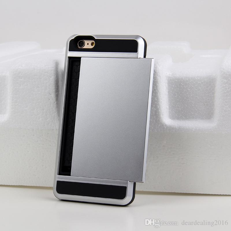 For iPhoneX iPhone8 Hybrid Card Slot Case Silicone + PC Back Cover For iPhone 7 6S Plus Slim Phone Armor Cases