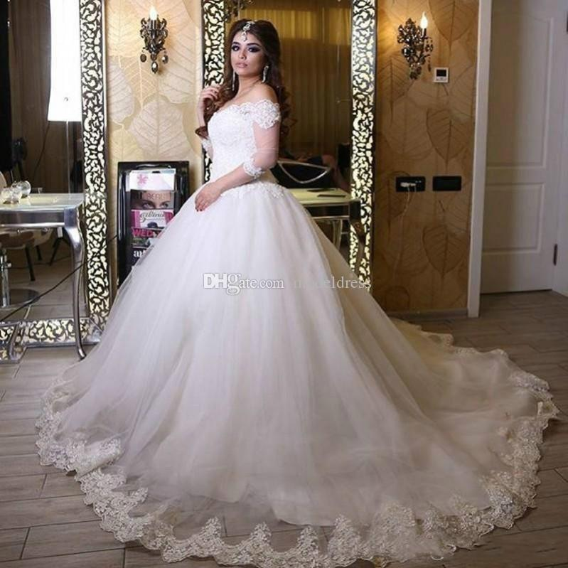 Gorgeous Lace Arabic Wedding Dresses 2017 Off Shoulder 3/4 Long Sleeves Appliques A Line Plus Size Bridal Gowns With Court Train Custom