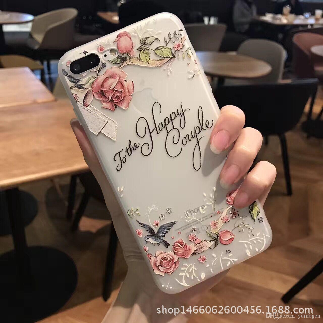 For apple iPhone 7 7 plus 6 6s 6s plus art painting embossed flowers Transparent tpu soft Silicon thin back cover phone case