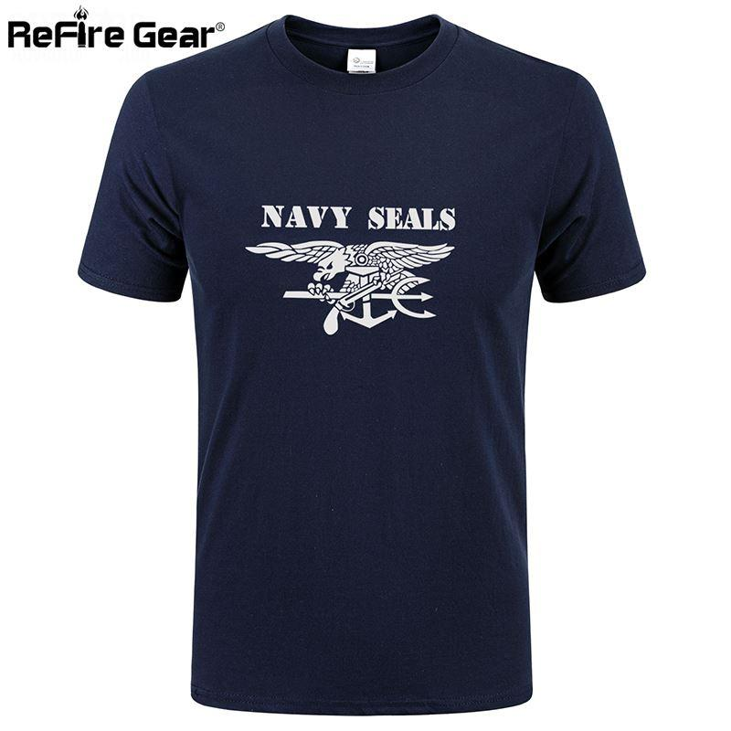 d0505141 Summer Military T Shirt Men Navy Seals Print Quick Dry Army Combat Tactical  T Shirt Short Sleeve Breathable Cotton Casual Tees Q170662 Cool Tee Shirts  ...