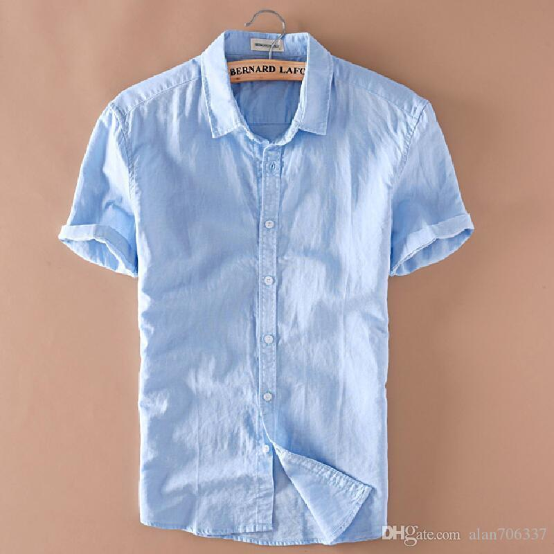 947af32557e2b 2019 Summer Men S Linen Short Sleeves Shirts Slim Fit Mens Quality Casual  Shirts Solid Cotton Shirts TS 149 From Alan706337