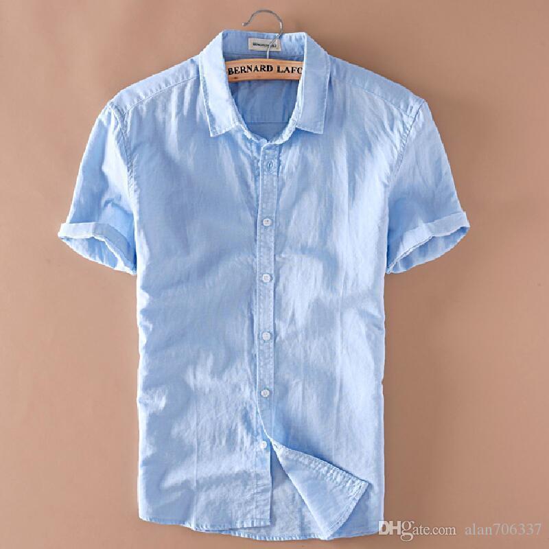 ddce53bb5 Summer Men's Linen Short Sleeves Shirts Slim Fit Mens Quality Casual Shirts  Solid Cotton Shirts TS-149
