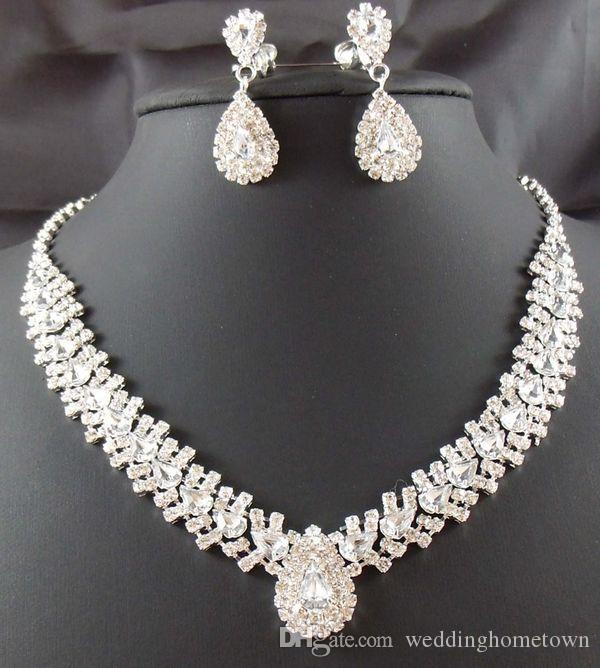 Dazzliing Rhinestones Bridal Jewelry Sets Necklace Earrlings