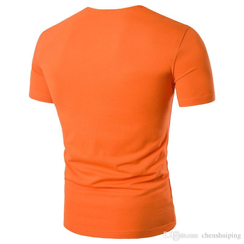 New Summer Mens Button Collar T Shirt Fashion Men Short Sleeve T Shirts Slim fit T-Shirt Solid Tee