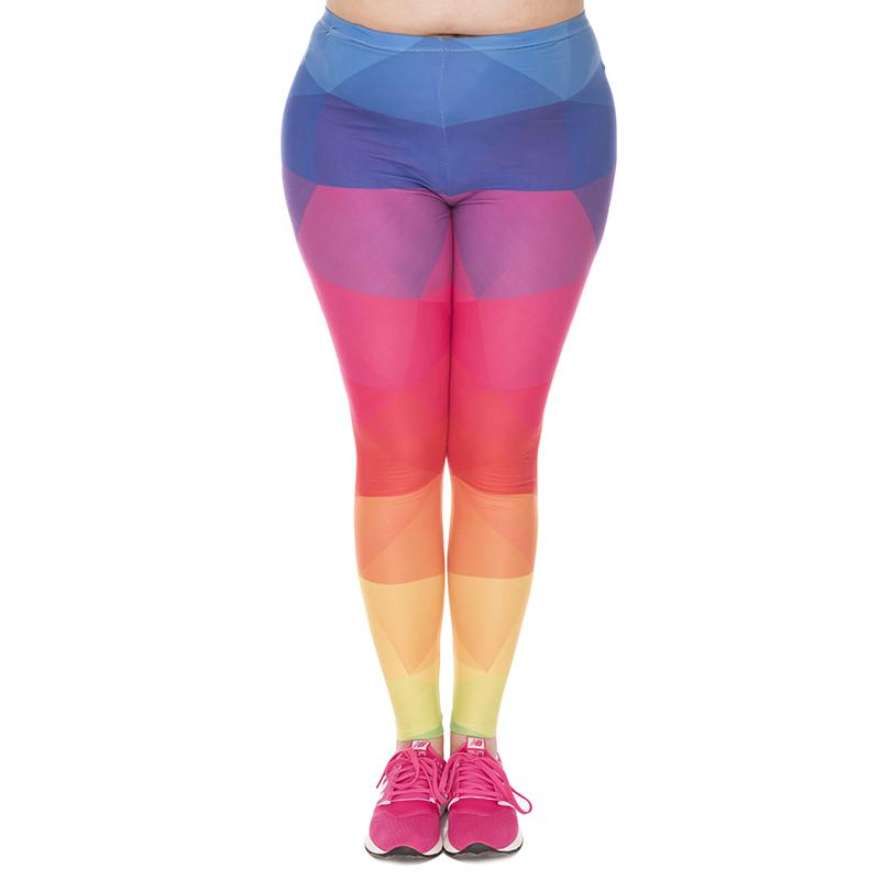 Girl Leggings Triangles Rainbow 3D Graphic Print Women Colorful Pattern Soft Pants Lady Workout Trousers Plus Size Fits L XL XXL (J45763)