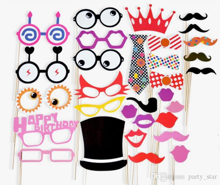 Funny Birthday Graduation Party Photo Booth Props Glasses Neck Tie Cap On A Stick Party DIY Masks