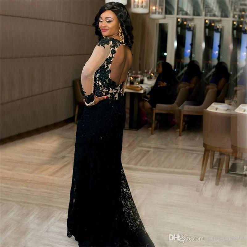 Sexy Mermaid Lace Black Evening Dresses Deep V-Neckline Long Sleeve High Side Slit Open Back Prom Dress
