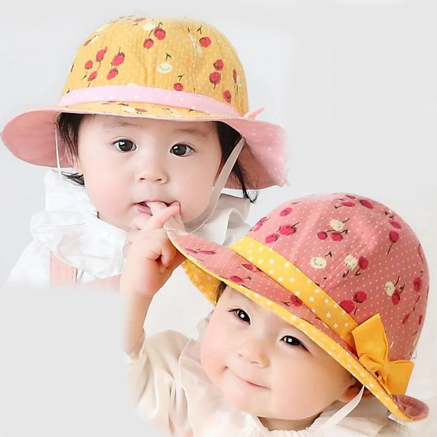 2019 Baby Girls Cherry Print Bucket Hat Infants Cute Princess Sun Hats  Spring Summer Kids Cute Fisherman Hat For 1 3T From Krtrading ae6dbb35152