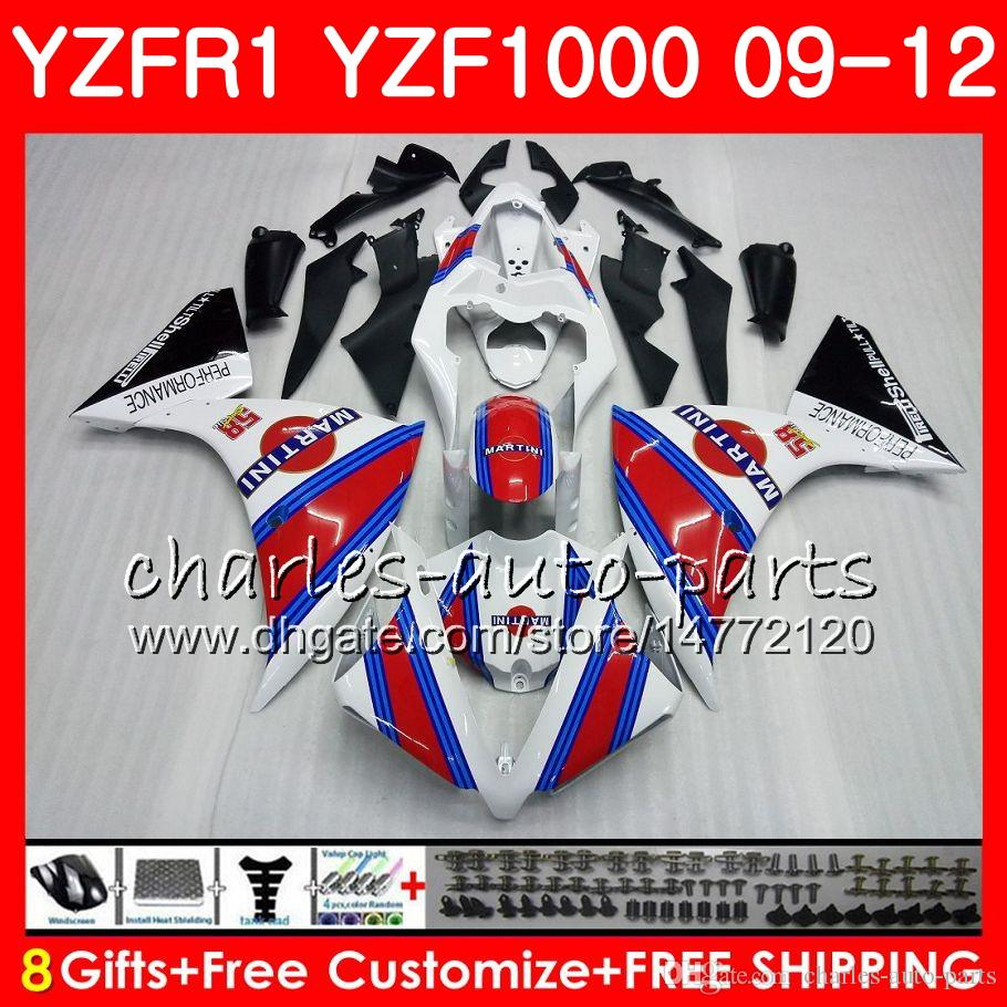 Bodywork For YAMAHA YZF 1000 R 1 YZF-1000 Red white YZF-R1 09 12 Body 85NO17 YZF1000 YZFR1 09 10 11 12 YZF R1 2009 2010 2011 2012 Fairing